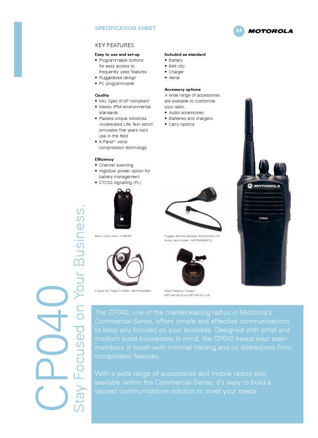 motorola cp040 specifications celab rh celab se Motorola Microphone Motorola Two-Way Radio CP040