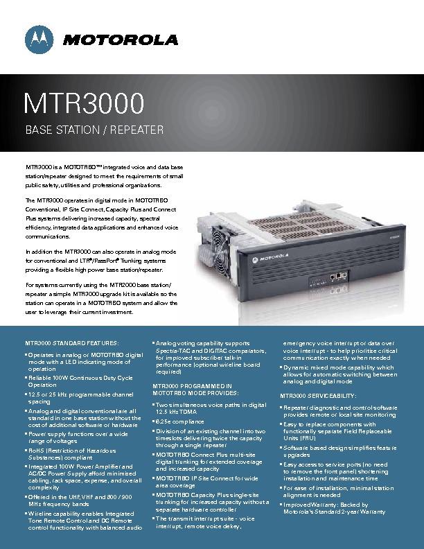 Motorola MTR3000 specifications | Celab