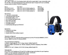 3M Peltor LiteCom Pro II ATEX specifications preview 1