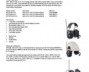 3M Peltor LiteCom Pro II specifications preview 1