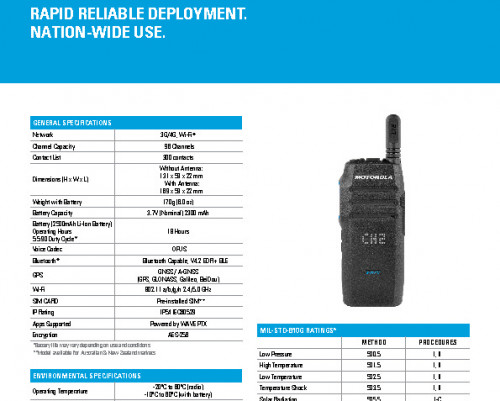Motorola TLK100 datasheet preview 1